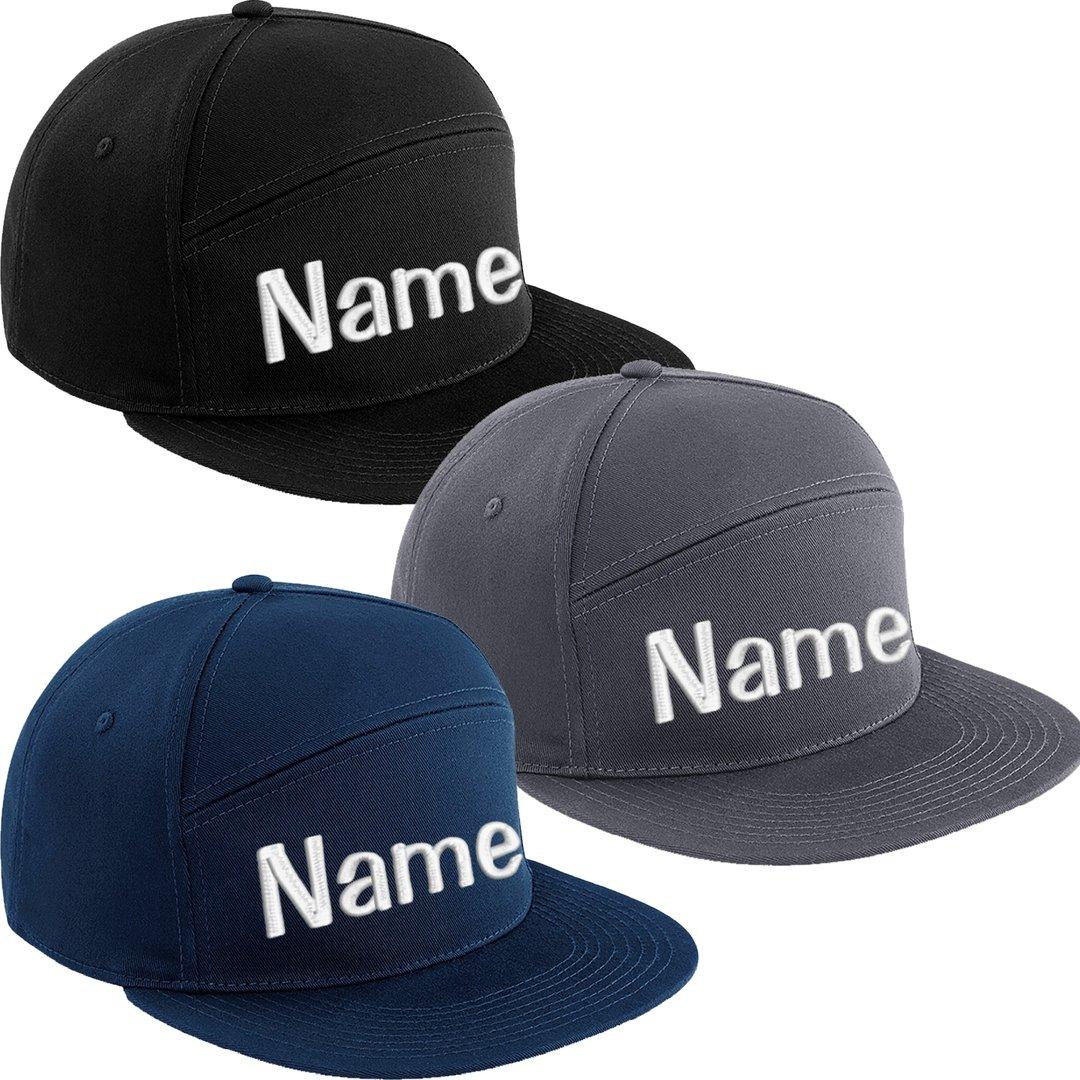 Pitcher Snapback Cap bestickt mit Name Wunschtext Basecap Kappe Mütze Cappy